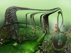 Allein mit dem Denkmal des Waldes