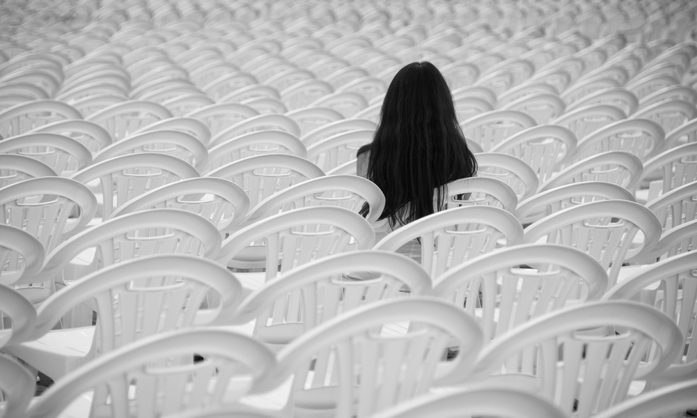 Alone with white chairs
