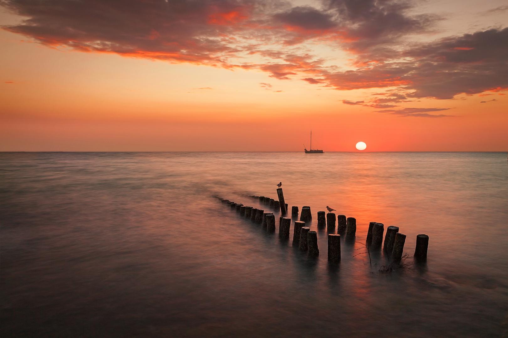 Als die Sonne im Meer versinkt