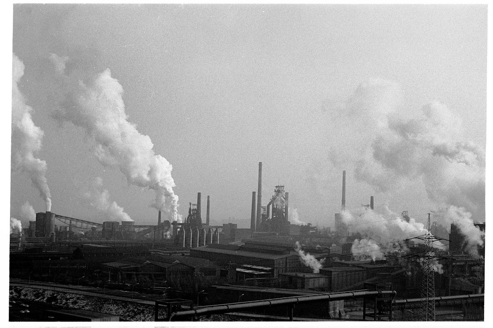 Alsumer Berg, Blick Richtung Duisburg Bruckhausen 1981