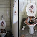 alte Gardinenfabrik VI, verschmierte Toilette