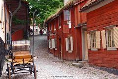 Alte schwedische Bauerhäuser im Skansen Park
