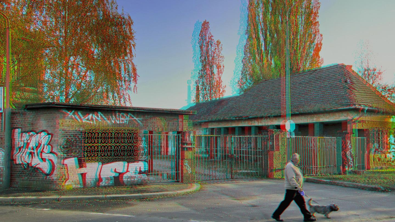alter Betriebseingang (3D-Foto)