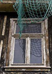 Altes Fenster mit Netz