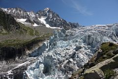 Am Eisbruch des Glacier de Argentiere/Mt. Blanc-Massiv/Frankreich