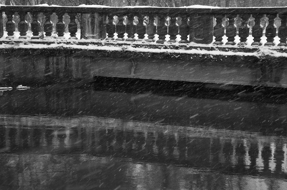 am Schloss Oberschleissheim bei Schneetreiben
