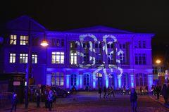 Am Universitätsplatz zur Lichtwoche 2020 in Rostock