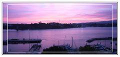Amanecer en la Ria de Ribadeo (Lugo-Galicia) y Figüeras (Asturias) Panoramica