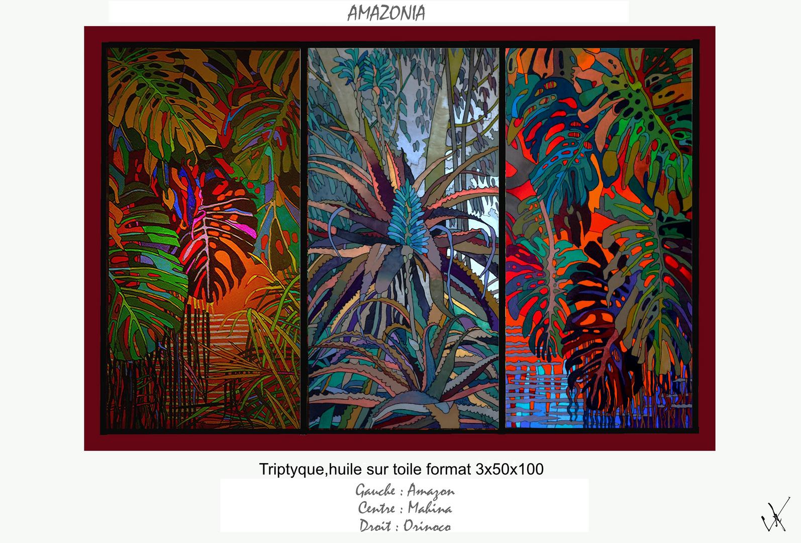 AMAZONIA-TRIPTYQUE 3X50/100 huile sur toile