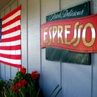 American Flag and coffee sign