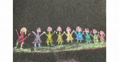 an unknown schoolgirl's weekend-street-art (asphalt drawing)