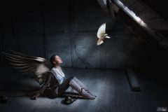 Angel longing for freedom