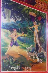 Angkor Wandbild im Tempel