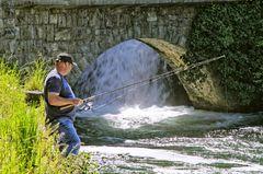 Angler am Rheinfall von Schaffhausen