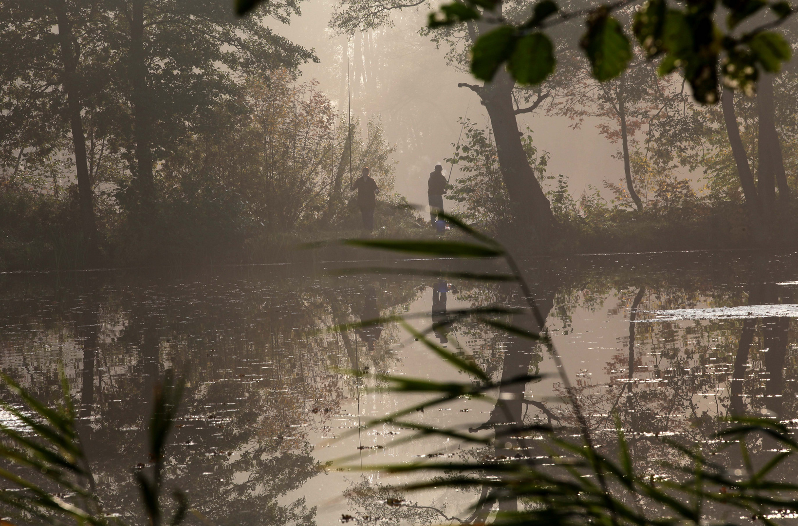 Angler im Moor