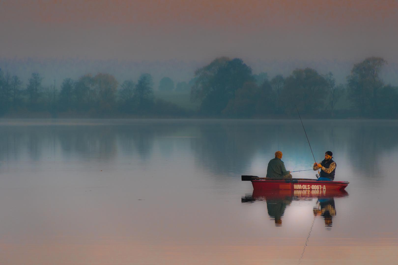 Angler, morgens in Masuren