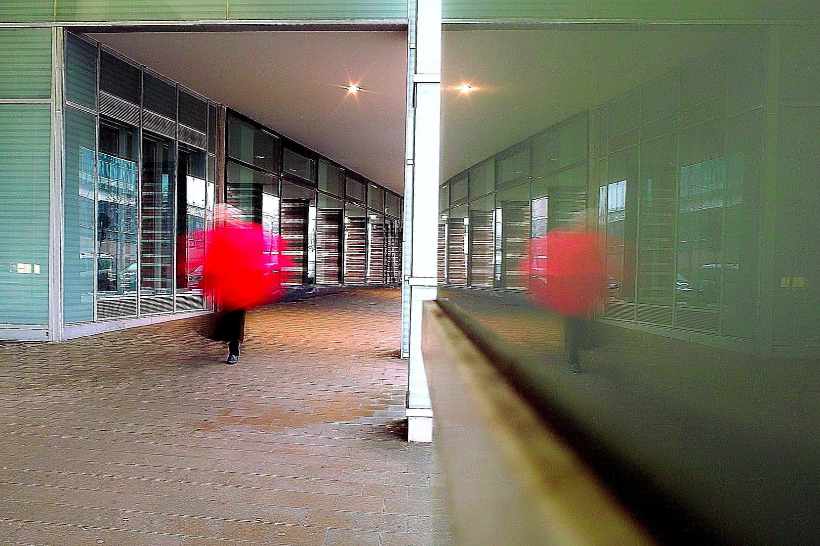 another red umbrella.