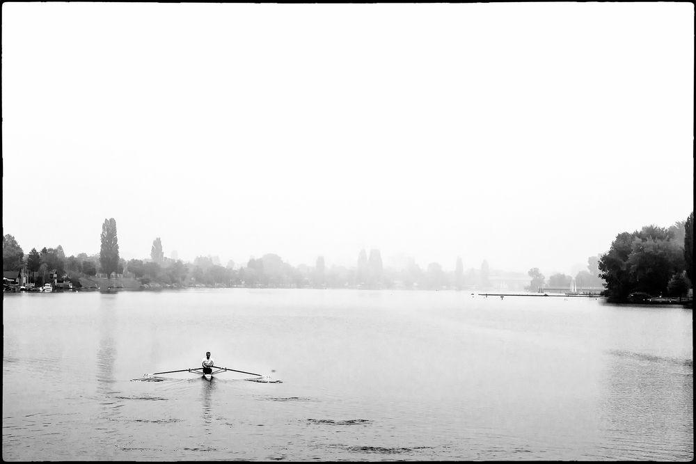 Anrudern auf der alten Donau in Wien
