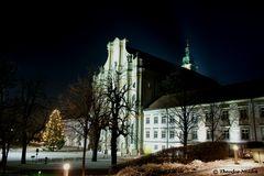 Ansicht mit Fassade der Klosterkirche in Fürstenfeld, Fürstenfeldbruck/Oberbayern
