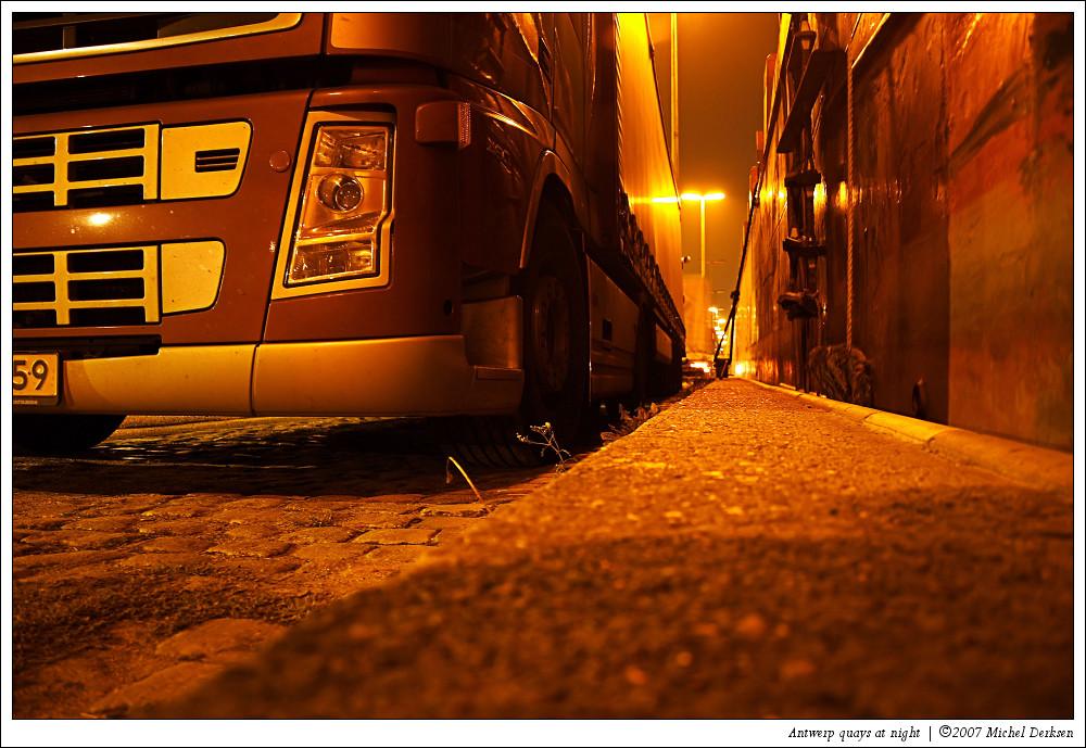 Antwerp quays at night.