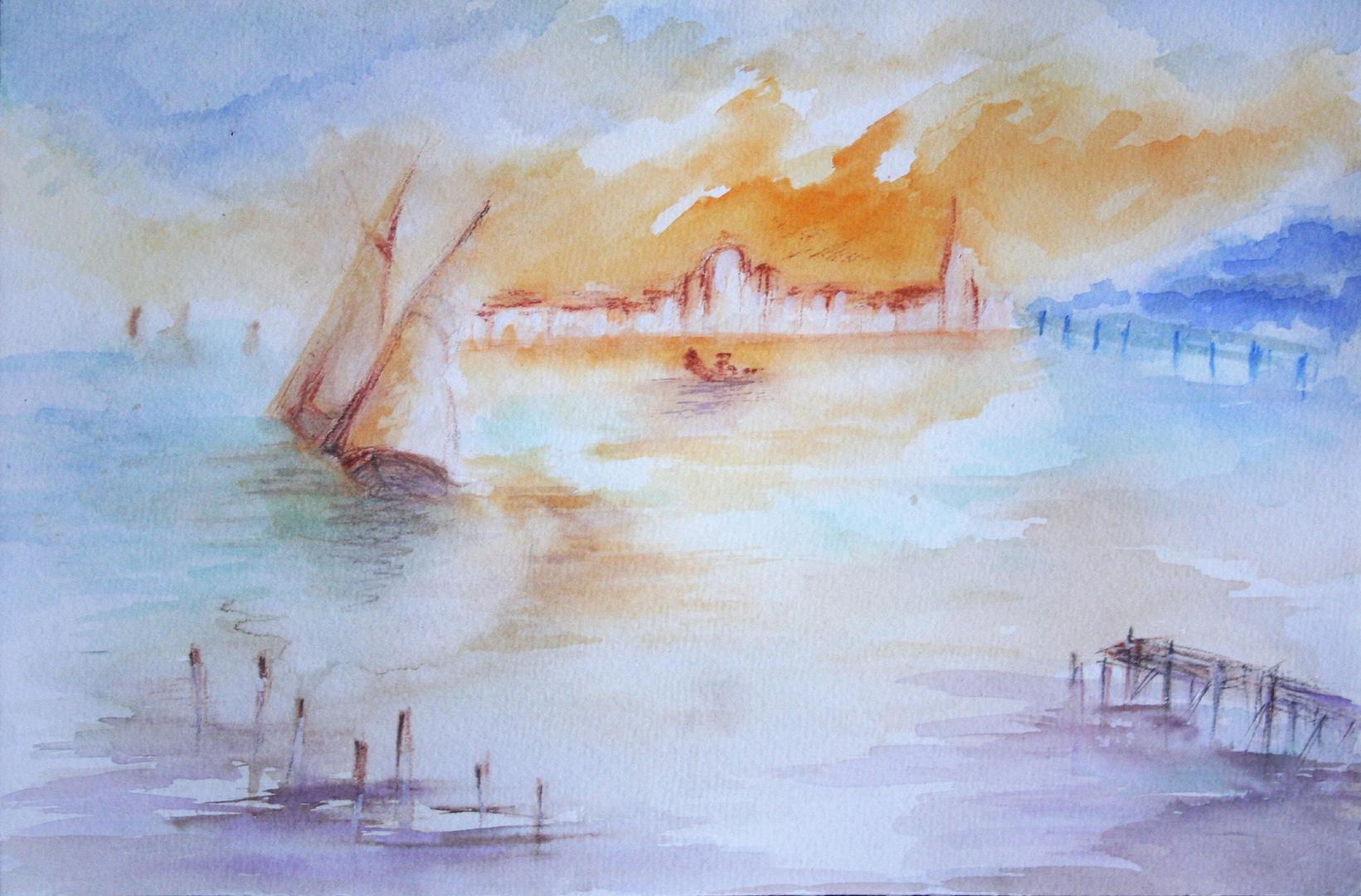 Aquarelle HOMMAGE A W.TURNER VENISE