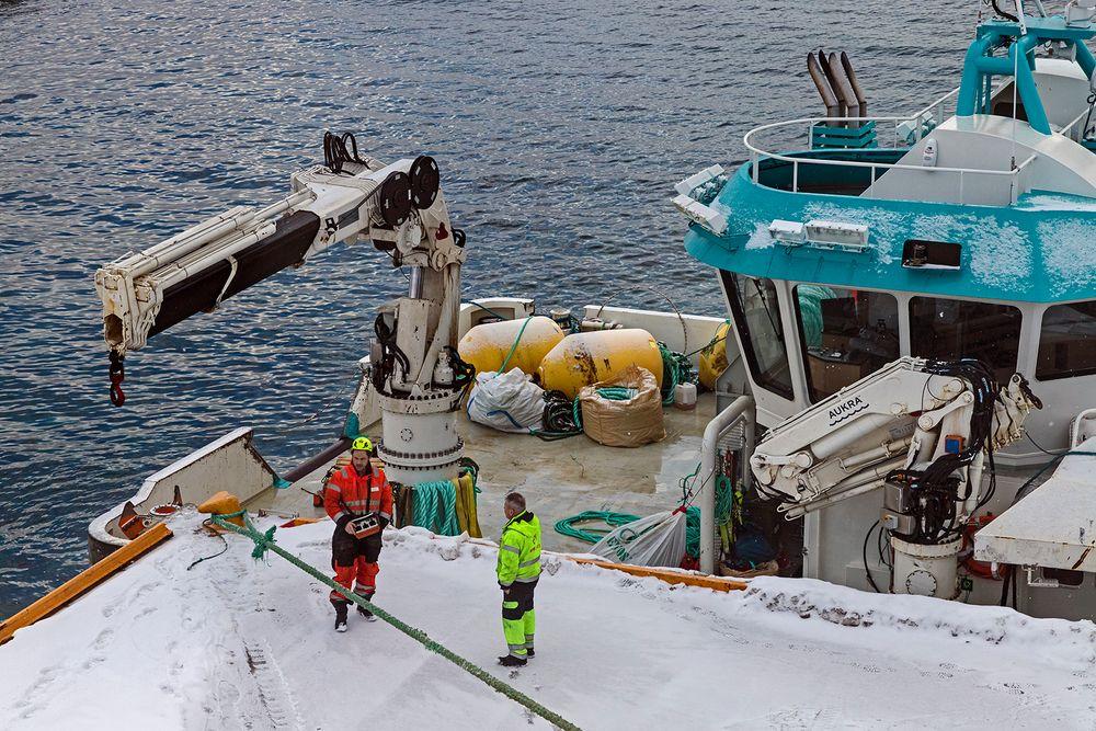 Arbeitseinsatz im Hafen von HAVOYSUND (Finnmark/NOR)