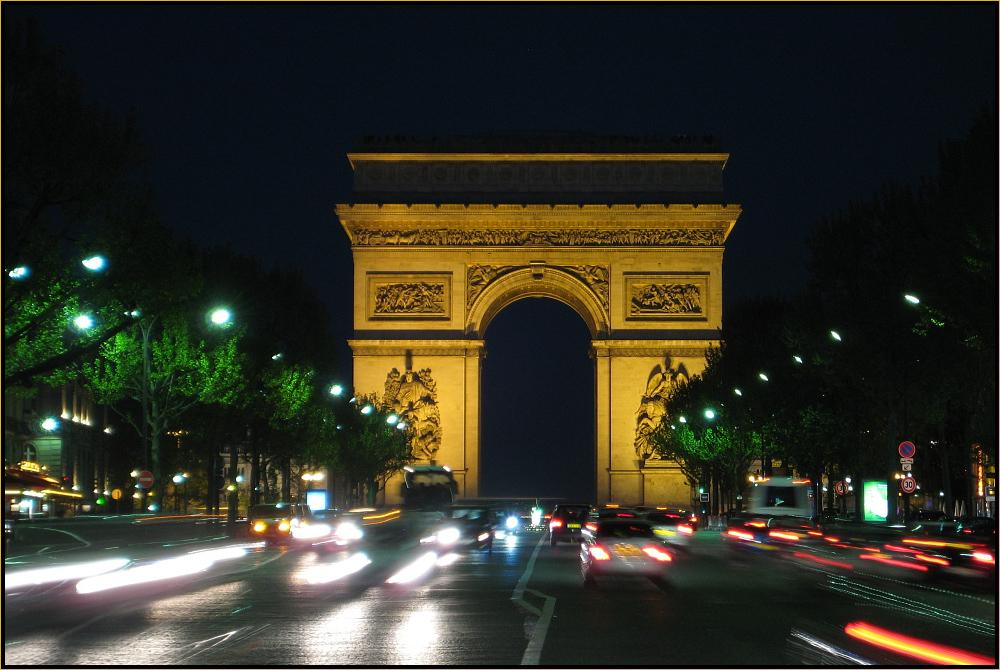Arc de Triomphe von der Avenue de la Grande Armée aus.