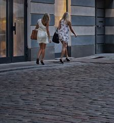 as ladies walk on ... long ago