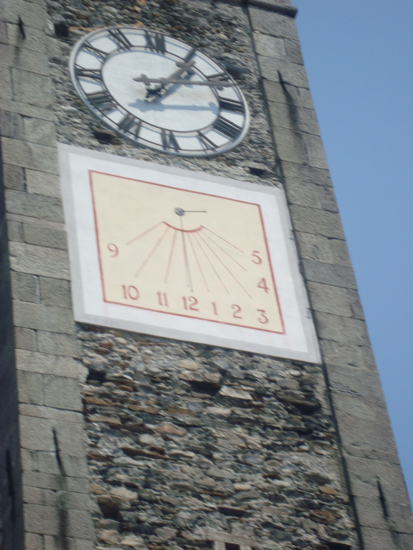 Ascona-sundial on towerclock of chuch of St. Paul and St. Peter