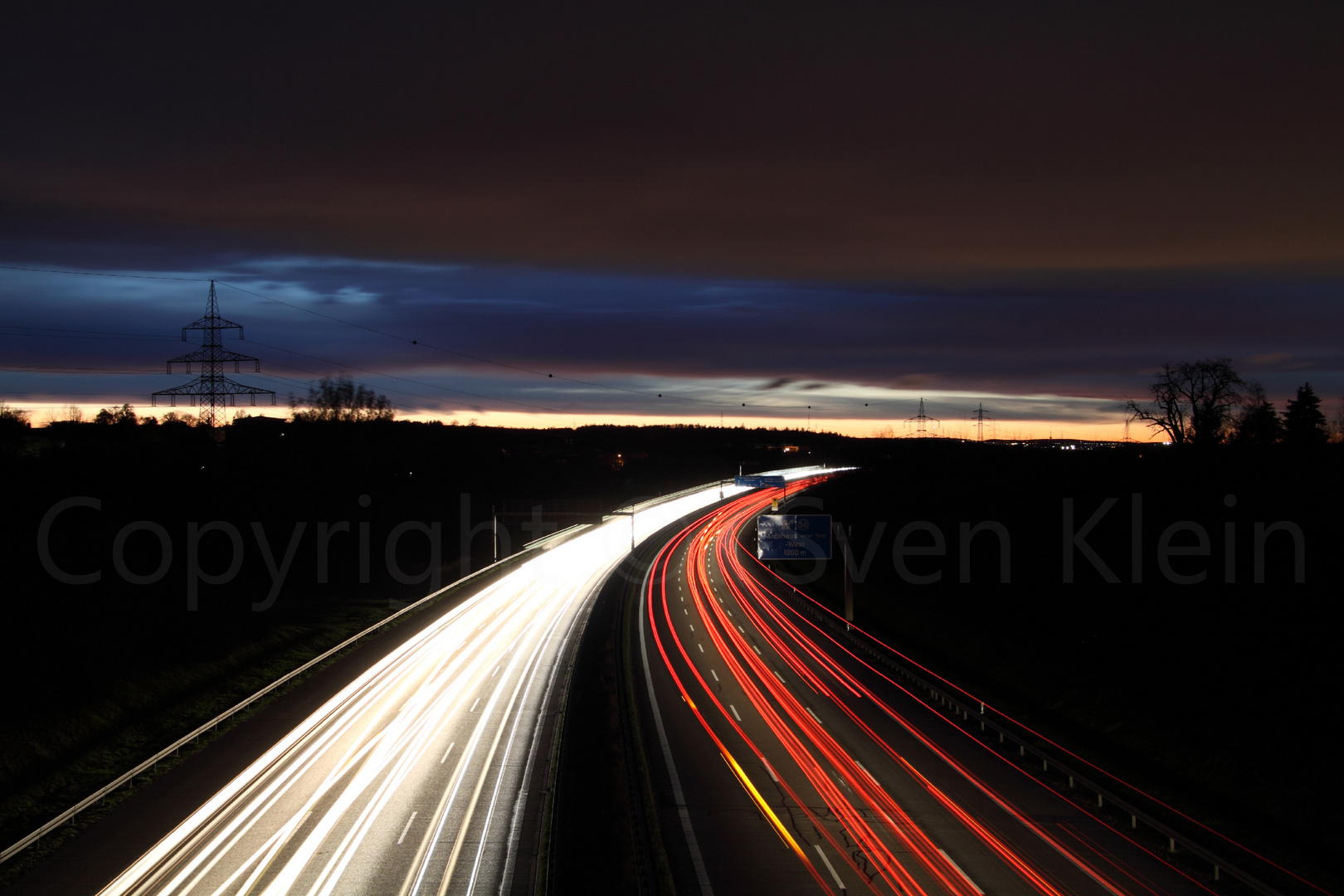 At Night over the A8