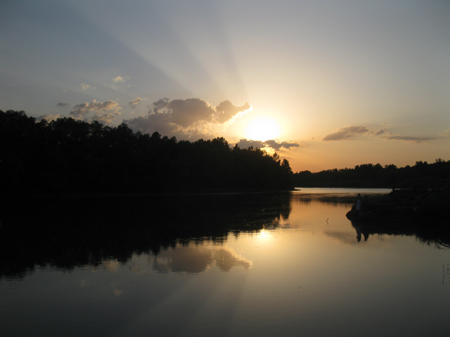 at sunset on the river