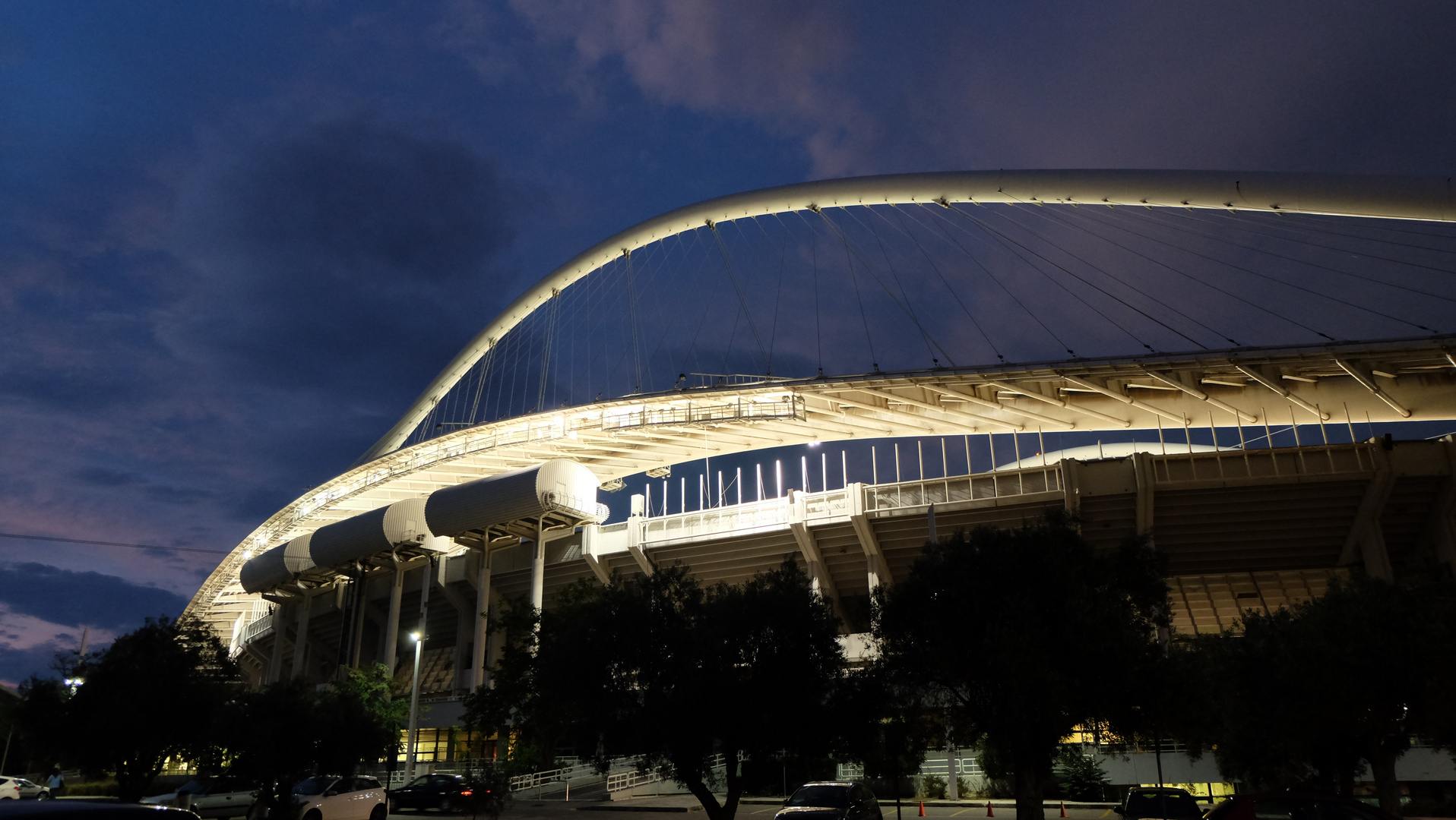Athens (7) - Olympic Stadion by night - Architect Santiago Calatrava
