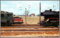 Auch 1982 gab es in Camburg noch eine gute Baureihen- Mischung auf den Gleisen