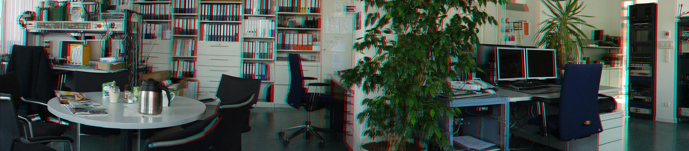 auf Arbeit in 3D (rot/cyan - Brille verwenden)