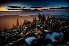 Auf dem Lusen kurz vor Sonnenaufgang