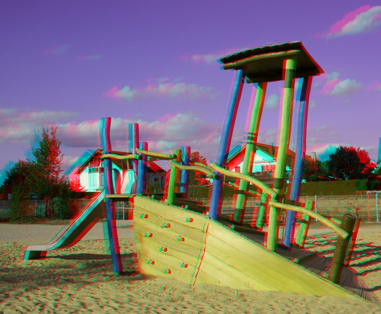 Auf dem Spielplatz 1 (Farbanaglyphe rot/cyan)