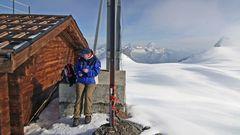 Auf der 3899m hohen Gobba de Rollin  an einem der Enden des Breithornplateaus...
