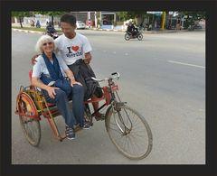Auf dieser Fahrradrikscha