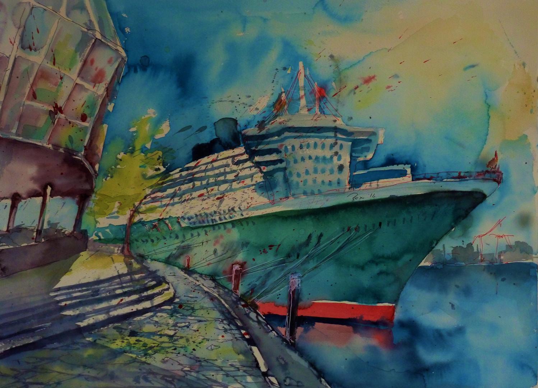 Auf großer Fahrt- Queen Mary II in Hamburg