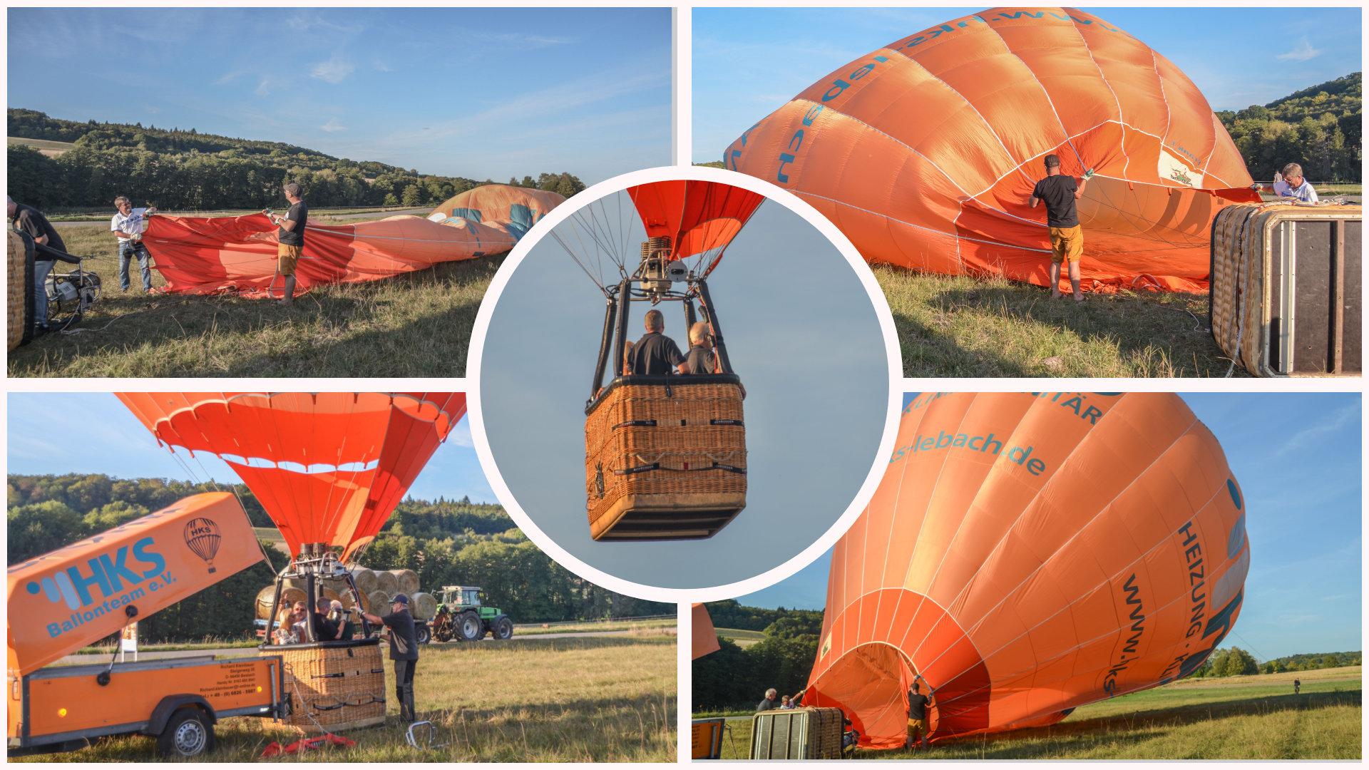 Aufbau und Start der Ballonfahrt