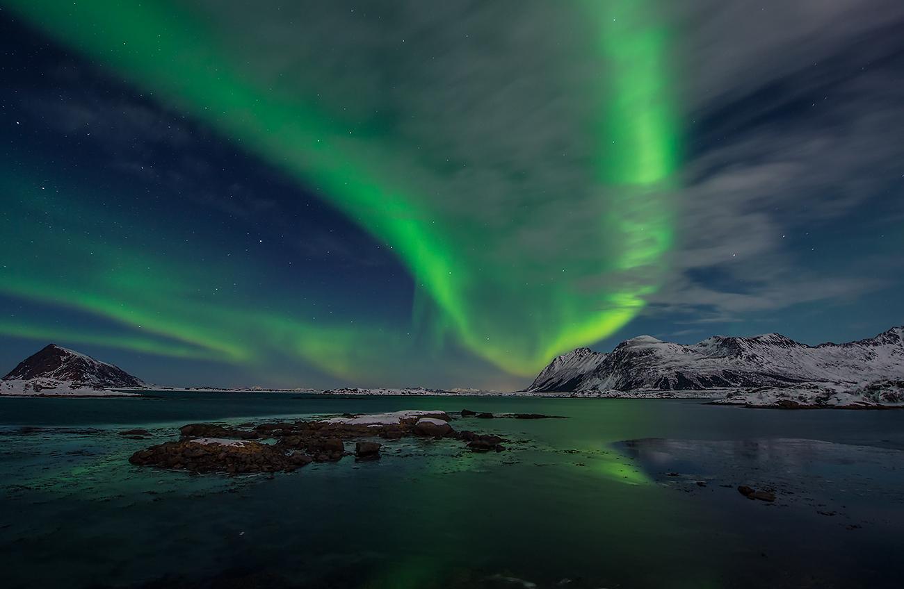 aurora borealis and clouds