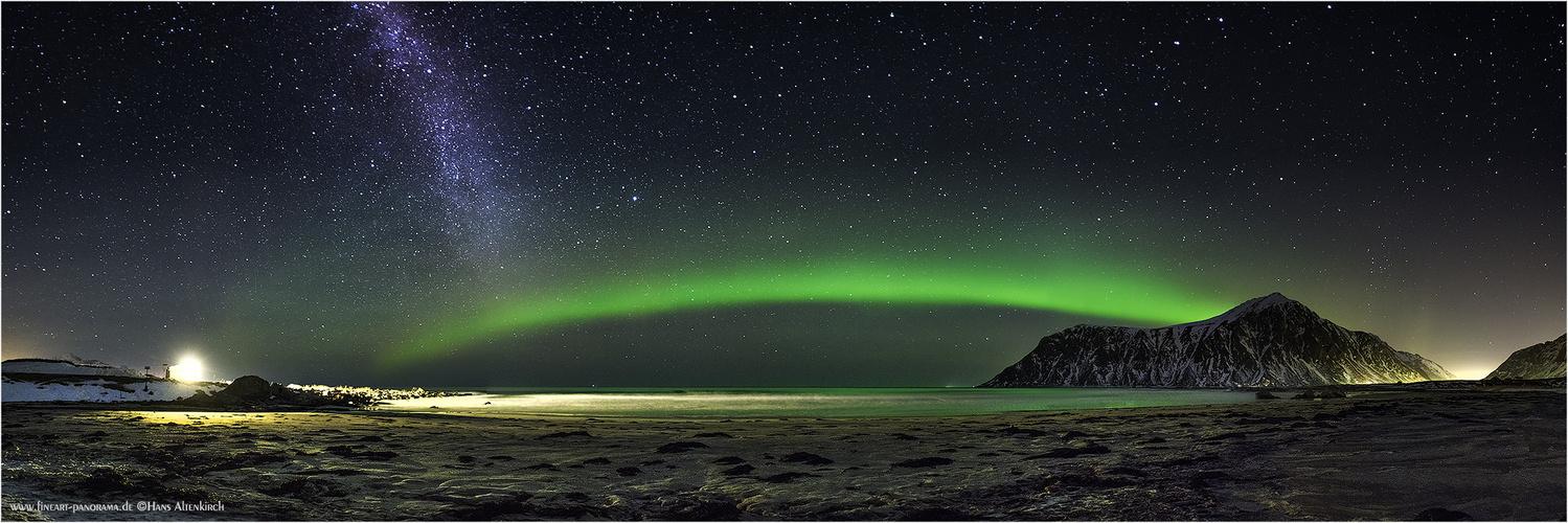 Aurora meets Milky Way