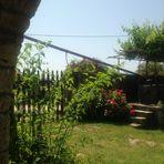 Aus dem Schönen alten Gemäuer des Hauses der Blick in den Garten