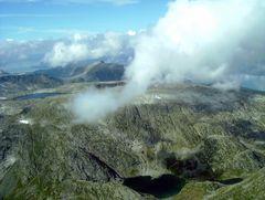Ausblick während des Fluges von Bergen zum Folgefonn-Gletscher
