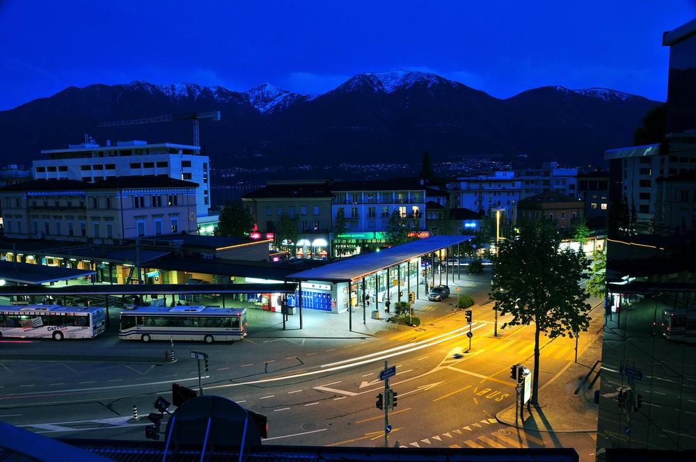 Aussicht aus Hotel Montaldi bei Nacht