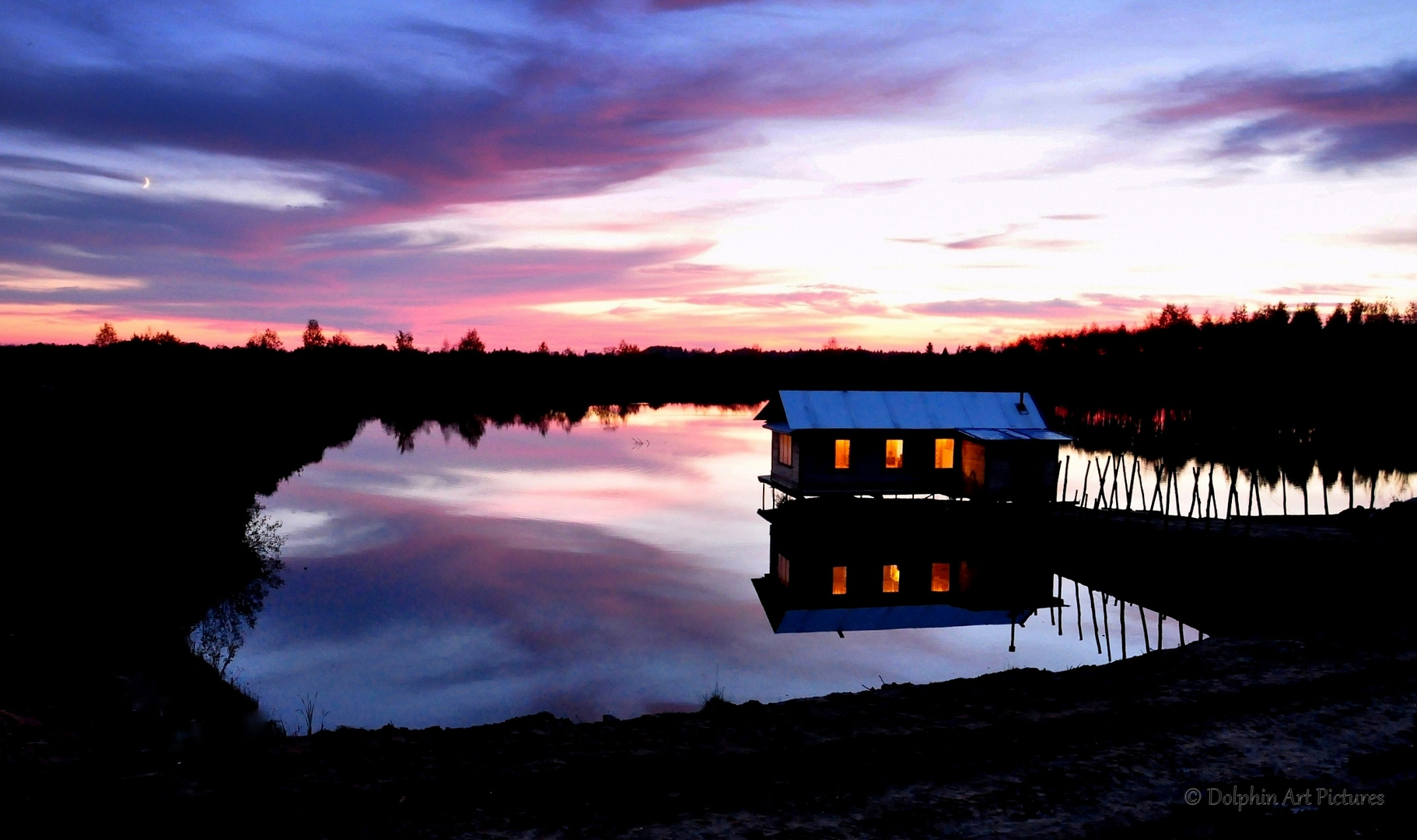 Autumn sunset above the fish pond