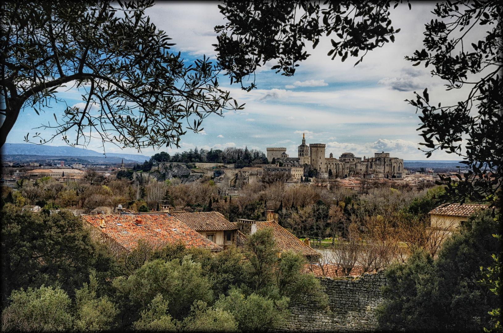 Avignon: Blick auf den Papstpalast - Vue sur le Palais des Papes