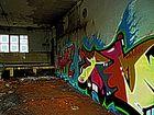 Awake- Graffito im Obergeschoss der alten Schnapsbrennerei