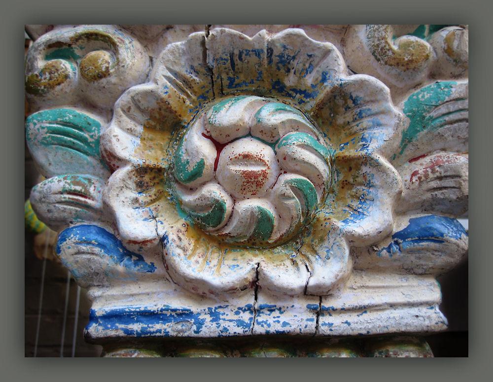 Aztec wooden flower
