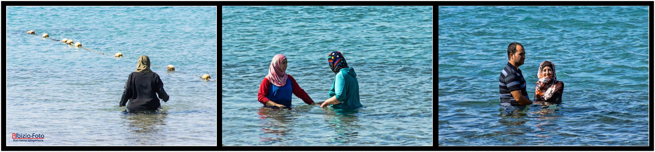 Badefreuden im Roten Meer, Aqaba (Jordanien)
